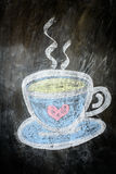 Sketch chalk cup of coffee and tea Royalty Free Stock Photography
