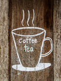 Sketch chalk cup of coffee and tea Royalty Free Stock Photos