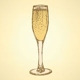 Sketch champagne glass  in vintage style Stock Image
