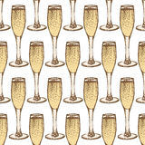 Sketch champagne glass  in vintage style Stock Photo