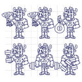 Sketch Character Set Bull Football Player Holds Cup Money  Stock Photos