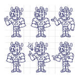Sketch Character Set Bull Football Player Shows and Points Stock Photos
