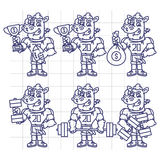 Sketch Character Set Rhino Football Player Holds Cup Money Dumbb Stock Images