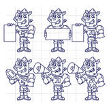 Sketch Character Set Rhino Football Player Holds Megaphone Ball Royalty Free Stock Photography