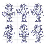 Sketch Character Set Rhino Football Player Holds Rectangular Bal Royalty Free Stock Images