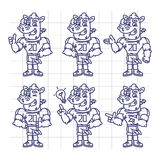 Sketch Character Set Rhino Football Player Shows and Points Royalty Free Stock Image