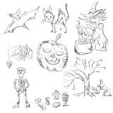 Sketch characters halloween celebrations Royalty Free Stock Photography