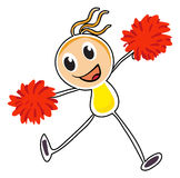 A sketch of a cheerleader with red pompoms Stock Photography