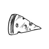 Sketch of cheese slice with holes Royalty Free Stock Photo