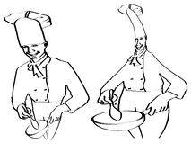 Sketch of chefs cooking Royalty Free Stock Photography