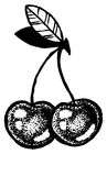 Sketch of cherries dot work Stock Images