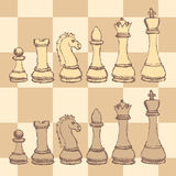 Sketch chess figurel in vintage style Stock Photos