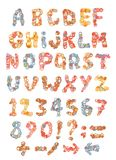 Sketch childish alphabet with cartoon letters. Sketch childish alphabet with cartoon hand drawn marker colorful uppercase letters Royalty Free Stock Image