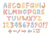 Sketch childish alphabet with cartoon letters. Sketch childish alphabet with cartoon hand drawn marker colorful uppercase letters Royalty Free Stock Photo