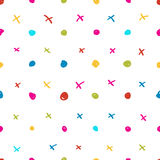 The sketch childish background. The seamless background made out of dots and crosses Stock Images