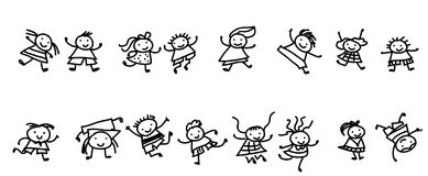 Sketch children Stock Images