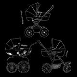 Sketch of children white pram. Vector illustration of sketch children white pram with text on black background Royalty Free Stock Photos
