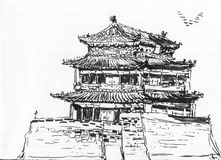 Sketch chinese building Royalty Free Stock Photos