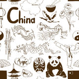 Sketch Chinese seamless pattern Stock Photography