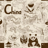 Sketch Chinese seamless pattern Royalty Free Stock Photography