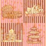 Sketch Chinese temple, Coliseum,Taj Mahal and Sydney opera, vect Royalty Free Stock Image