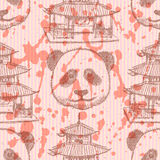 Sketch Chinese temple and panda,   seamless pattern Royalty Free Stock Photography