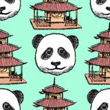 Sketch Chinese temple and panda,   seamless pattern Royalty Free Stock Photo