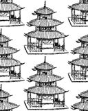 Sketch Chinese temple,  seamless pattern Stock Photos