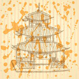 Sketch Chinese temple, vector  background eps 10 Royalty Free Stock Images