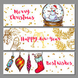 Sketch Christmas Banner Set. Three horizontal sketch christmas banner set with merry Christmas happy new year and best wishes descriptions vector illustration Royalty Free Stock Image