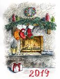 Sketch Christmas Card with Fireplace royalty free illustration