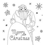 Sketch Christmas card with a mighty Santa. Stock Image
