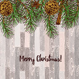 Sketch Christmas cards. In vintage style, vector pine branches on a wooden tile Royalty Free Stock Photography