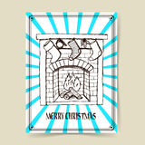 Sketch Christmas fireplace Royalty Free Stock Photos