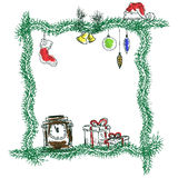 Sketch christmas frame Royalty Free Stock Image