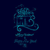 Sketch of a Christmas gift, greeting, royalty free stock images