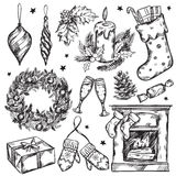Sketch Christmas Gifts Icon Set Stock Photography