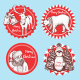 Sketch Christmas icons. In vintage style, vector Stock Images