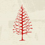 Sketch of christmas pine on sheet for your design Royalty Free Stock Photos