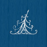 Sketch of christmas pine, wooden background Stock Photos
