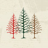 Sketch of christmas pines on sheet for your design Stock Images