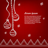 Sketch Christmas red background. Sketch background Christmas balls on a red. Vector Vector Illustration