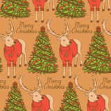 Sketch Christmas reindeer and New Year tree vintage style Stock Image