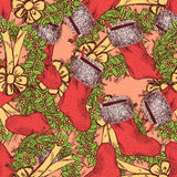Sketch Christmas seamless pattern in vintage style Stock Image