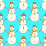 Sketch Christmas snowman in vintage style Royalty Free Stock Photos