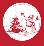 Sketch Christmas symbol snowman with tree Stock Images