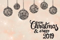 Ball, Calligraphy Merry Christmas And A Happy 2019, Rose Background stock photos