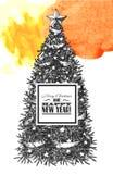 Sketch of Christmas tree Royalty Free Stock Photos