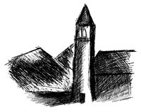 Sketch of a church in black with mountains Royalty Free Stock Photo