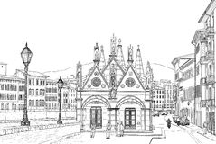 Sketch of the Church Royalty Free Stock Photos